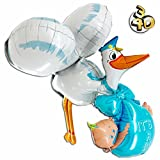 Riesiger 3D Folienballon Storch mit Baby It's A Boy 157cm Blau XXL - Baby Party Geburt Taufe Junge Babyshower Ballon Luftballon Riesenballon