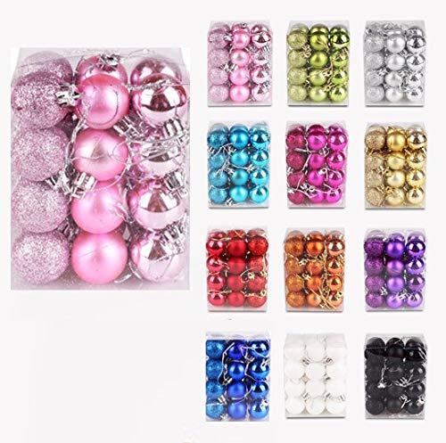 Iseasy confezione 24 palline di natale 3 cm, palline natalizie glitter opache lucide [x8 x8 x8], set palline natale rosa glitter