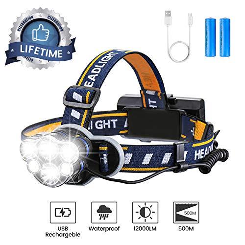 Lampe Frontale Super Lumineuse, OUTERDO Lampe Torche LED Rechargeable Lampe Frontale LED avec 6 LEDs 12000LM 8 Modes d'Eclairage avec Câble USB et 2 Batteries