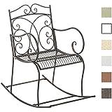 CLP Silla Mecedora romántica de hierro EDITH, diseño nostálgico, adornos hermosos bronce