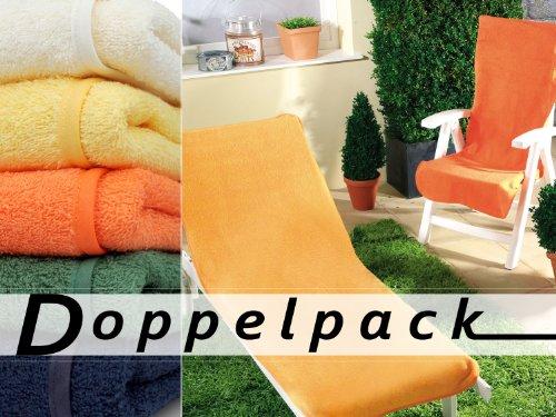 Doppelpack Dyckhoff Schonbezug für Gartenmöbel Liegenbezug 70 x 200 cm orange