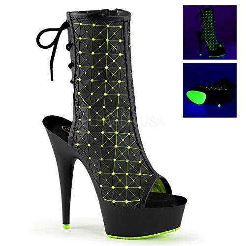 Pleaser delight-1018mtx - Blk Rubber-Neon Lime Lycra/Blk Matte