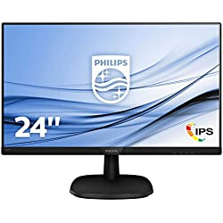 """Philips 243V7QDSB/00 - Monitor LCD IPS de 23.8"""" con Flicker Free (resolución 1920 x 1080 Pixels, tecnología LED, Contraste 1000:1, 5 ms, integrada), Color Negro"""