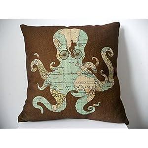 Carcasa Betsey Shockley Decorbox Cotton Linen cuadrado decorativo manta para funda para cojín funda de almohada Fashion mapa pulpo de 18
