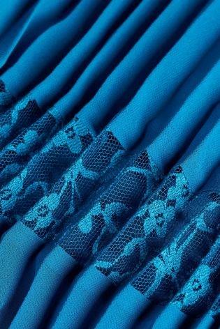 next Robe mi-longue plissée Tall Femme Bleu