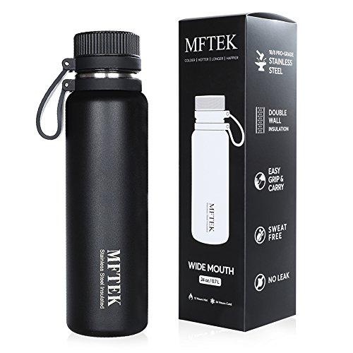 MFTEK Edelstahl Trinkflasche 700ml BPA Frei Wasserflasche Heiß & Kalt...