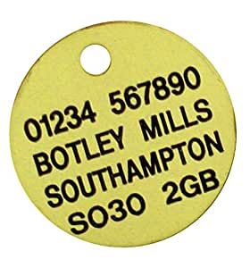 Spoilt Rotten Pets Quality Brass Engraved 25mm Pet Disc Identity Dog Tag When Checking Out Please Tick The Gift Message Box To Send Us The Engraving Details