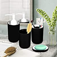 Story at Home Bathroom Accessories Set, Black, 13 x 3 cm, BS1406