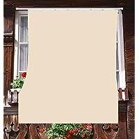 Toldo de exterior para balcón de tela resistente, tamaño 140x 300 cmde 100% poliéster con anillos, dis.5, beige.