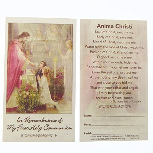 Catholic In Remembrance Of My First Holy Communion Prayer Card Boy