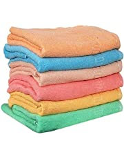 Weavers Villa Soft Cotton Multicolored Hand Towels - Set of 6 Towels (13 X 20 Inches)