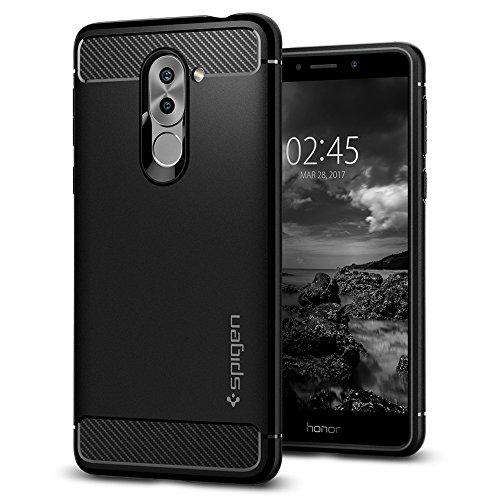 Huawei Honor 6X Hülle, Spigen® [Rugged Armor] Karbon Look [Schwarz] Elastisch Stylisch Soft Flex TPU Silikon Handyhülle Schutz vor Stürzen und Stößen Schutzhülle für Huawei Honor 6X (2017) / GR5 2017 / Huawei Mate 9 Lite Case Cover Black (L12CS21415)