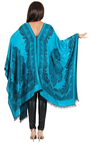 KOH KOH® Femmes Tunique Cashemire Cardigan Poncho Bleu Colbat