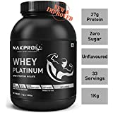Nakpro Platinum Whey Protein Isolate 90% (27gm Protein per serving), Raw Whey Protein Supplement Powder from USA - Unflavoured (1kg - 33 Servings)