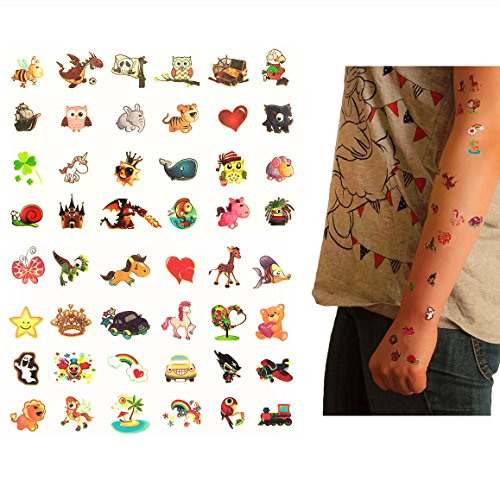 Oblique Unique® Tattoo Set 96 Stück Kindertattoos Leuchten im Dunkeln