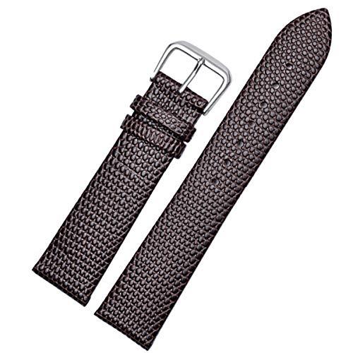 Uhrenarmband-Leder-Armband-Uhr-Zubehör Lizard Pattern Pin-Wölbungs-Bügel-Gurt für Top Frauen Uhr, Brown, 16mm -