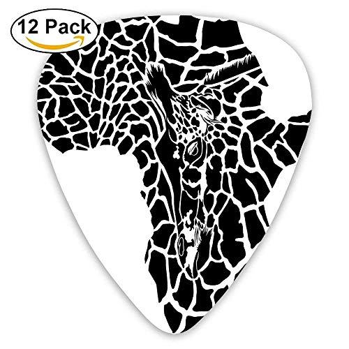 Illustration von Afrika Kontinent Karte als Tierhaut Wildnis Arten Kunstdruck Plektren 12 Pack Für E-Gitarre, Akustikgitarre, Mandoline und Bass - Blau Wildnis