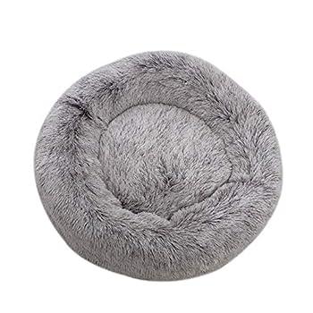 Chien Chat Lit, Panier de Chat Rond en Peluche pour Animal Domestique Nest Deep Sleep Pet Matelas, Lavable en Peluche,café, 50 cm