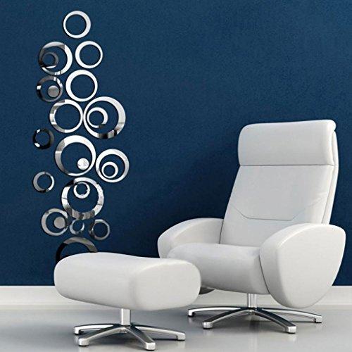 Flyfox® - Adhesivo decorativo para pared estilo de círculos de espejo, vinilo adhesivo decorativo para pared, extraíble, para el hogar, sala de estar o dormitorio