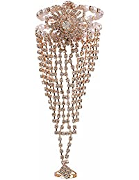 Efulgenz Silver Tone Chain Handmade Crystal Stone Studded Ring Bracelet For Women And Girls With An Extender.