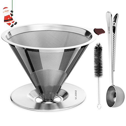 Coffee Filter, VickMall 304 Stainless Steel Pour Over Coffee Filter for 1-4 Cups with Free Coffee Spoon and Cup Cleaner Brush 51TyY1 2BQL8L