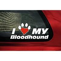 I Love My Bloodhound, zampa di cane a forma di cuore sticker in vinile