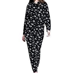 Damas para mujer con capucha Onesie todo en pijama mono una ropa de dormir pijamas (EU 38, Patrón de pata negra)