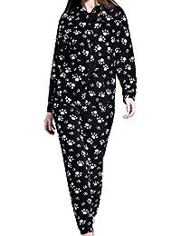 Airee Fairee Damen Fleece Einteiler Nachtwäsche Onesie Pajama Strampelanzug Schlafanzüge Overall Warm mit Kapuze