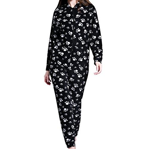 Grenouillères Femme Combinaison Pyjama à capuche en polaire Onesies Airee Fairee (EU 40-42, Motif de patte noire)