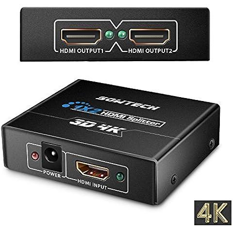HDMI Splitter, SOWTECH (TM) 4K/2K HDMI conmutador accionado Distribuidor Splitter 1X2 señal 1 En 2 con 1080P y compatibilidad 3D - Versión