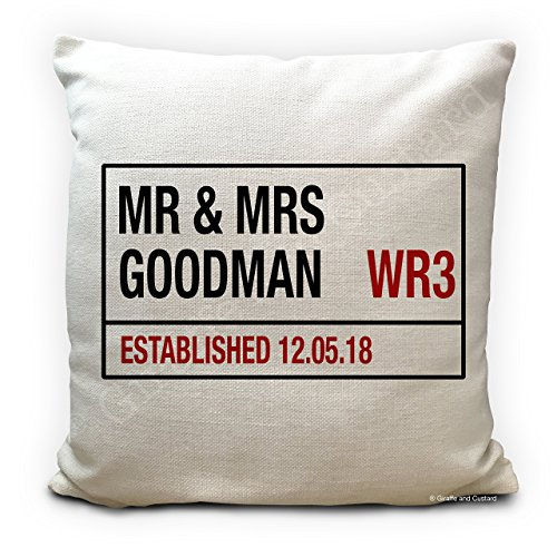 Personalised Wedding Cushion Cover Mr and Mrs Road Sign Marriage gift, Anniversary Present or New Home Decor, Add Your Surname, Postcode and Date, Vintage Style - Heavy Quality Material, Large 40cm