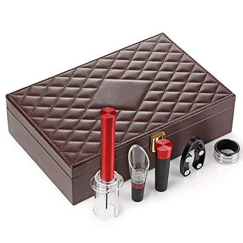KPQ Weinset, Pneumatischer Flaschenöffner, Frischer Weinstopper, 5Er-Set, Geschenkbox aus Leder, Werbegeschenk, braun, a