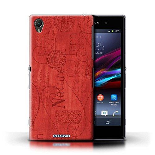 Kobalt® Imprimé Etui / Coque pour Sony Xperia Z1 / Rose / Jaune conception / Série Motif Nature Rouge
