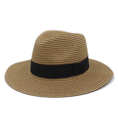 Guter Hut Mode Sommer Frauen Männer Toquilla Stroh Sonnenhut Elegante Große Breite Krempe Panama Hut Königin Fedora Hut Strandkappe größe ( Color : 2 , Size : 56-59cm ) (Fedora-hüte Für Frauen Groß)