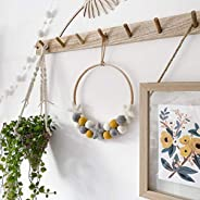 Felt Ball and Star Hoop Wreath in Mustard, Grey and White