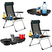 2 x CLIP ON PORTABLE CAMPING SIDE TABLE CUP HOLDER OUTDOOR GARDEN FISHING BEACH