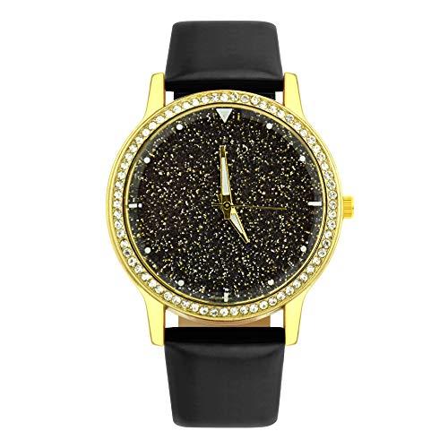 KiyomiQvQ Uhren Bunt Helles Pulver Sternenhimmel Damen Armbanduhren Schön Diamant Grenze Zifferblatt Watch Elegant Lady Wristwatch Ultra Dünne Quarz Uhr Armreif (Bunte Grenzen)