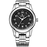 BUREI Relojes de Pulsera de Cuarzo para Mujer con dial analógico, Pantalla de Fecha, Banda de Metal (Black Dial)