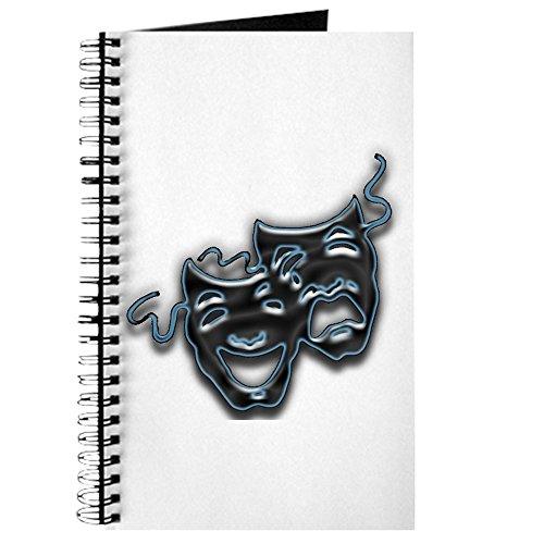 CafePress, groß, blau neon Komödie/Tragödie Masken–Spiralbindung Journal Notebook, persönliches Tagebuch, Dot (Drama Maske Leere)