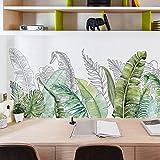 CFLEGEND Schlafsaal Net Rote Dekorative Tapete Selbstklebende Schlafzimmer Nordic Kleine Frische Handgemalte Tropische Grüne Blatt Pflanze Wandaufkleber 43X117Cm
