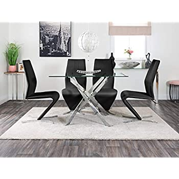 Furniturebox UK Leonardo 4 Clear Glass And Chrome Metal Modern Stylish Dining Table And 4 Premium Willow Dining Chairs Set (Dining Table + 4 Black Willow Chairs)
