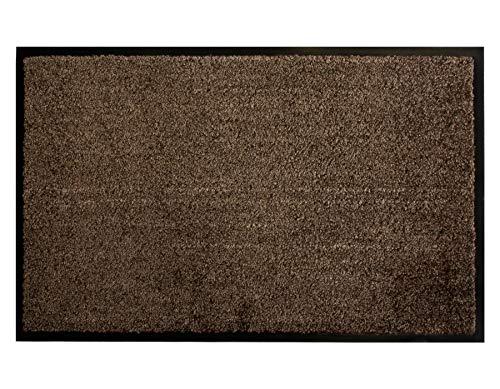 Primaflor - Ideen in Textil Schmutzfangmatte CLEAN – Braun 40 x 60 cm, Waschbare, Rutschfeste, Pflegeleichte Fußmatte, Eingangsmatte, Küchenläufer Matte, Türvorleger für Innen & Außen
