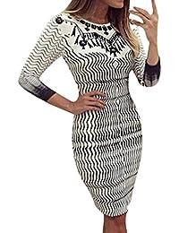 Vestito Donna Elegante ASHOP Abito Lungo a Manica Lunga con Scollo Rotondo  Stampato a Maniche Lunghe 614f77667b0