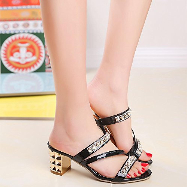 yalanshop Presidente Cool Zapatillas, Zapatos de Mujer con la Punta de la Broca de Agua Fresca y Pescado, Negro,37
