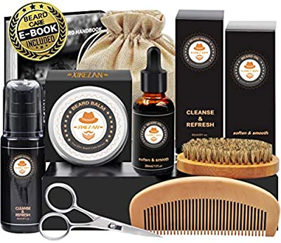 Upgraded Beard Grooming Kit w/Beard Growth Oil,Beard Balm,Beard Shampoo/Wash,Beard Brush,Beard Comb,Beard scissors,Storage Bag,Beard E-Book,Beard Care Grooming Gifts for Men from XIKEZAN