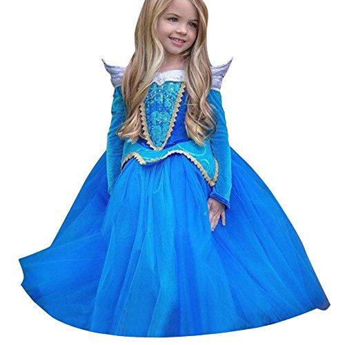 Abito bambino ragazza natale partito compleanno bambini ragazza principessafantasia vestite natale halloweencostume rawdah (blu, 8/9t)