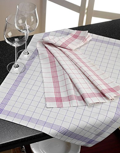 Geschirrtuch 10er Pack Küchentuch Küchenhandtuch 100% Baumwolle 50x70 cm kariert (blau-karriert)