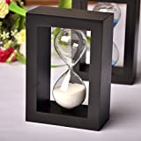 #9: MHE-New wooden timer clock sandglass 1 minute sand hourglass dining&barbecue Countdown Timing bedroom home decoration Black white sand