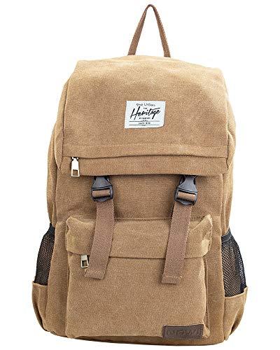 NOWI Heritage Canvas stilvoller moderner Rucksack Daypacks Bagpacks für 15 Zoll Laptop Reise Schule 13 Liter Volumen (braun)