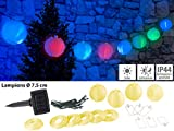 Lunartec Solar-Lampion wetterfest: Solar-LED-Lichterkette mit 10 Mini-Lampions, 1,8 m, IP44 (LED-Solar-Party-Lichterketten)